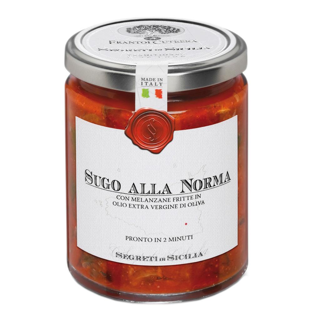 Sugo alla norma con melanzane fritte in olio extra vergine di oliva (ricetta tradizionale siciliana)