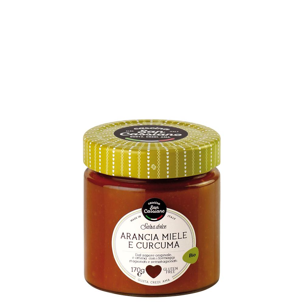 Salsa biologica di arancia, miele e curcuma
